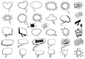 Pacote esboçado de bolhas de pensamento vetor