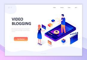 Conceito isométrico moderno design plano de vídeo Blogging