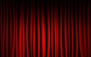 Fundo vermelho da mostra de concerto da fase da cortina. Resumo e conceito de papel de parede de fundo. vetor