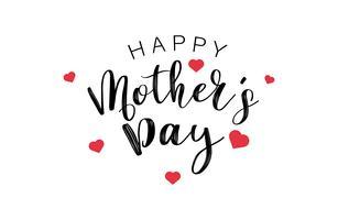Texto feliz da caligrafia do dia de mães com mini corações vermelhos. Conceito de palavra e citações de férias e decoração. Ilustração vetorial vetor