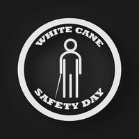 Ícone branco dos povos do dia da segurança do bastão com vara como o conceito cego e da inabilidade. Fundo de ilustração vetorial vetor