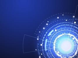 O círculo azul da tecnologia e o fundo abstrato da informática com linha azul e branca pontilham. Conceito de negócio e conexão. Conceito futurista e indústria 4.0. Internet cyber e tema de rede.