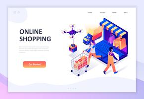Conceito isométrico moderno design plano de compras on-line