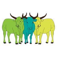 Três vacas verdes vetor