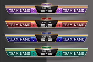 Molde gráfico da tela de Digitas do placar para a transmissão do futebol, do futebol ou do futsal, molde do projeto do vetor da ilustração para o fósforo de liga do futebol. Projeto de arquivo de vetor EPS10