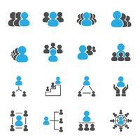Ícones de líder e chefe. Conceito de negócio e pessoas. Conjunto de coleta de ilustração vetorial. Tema de sinal e símbolo.
