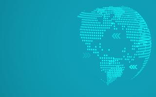 Fundo global abstrato azul do mapa do ponto. Gradiente radial. Papel de parede design moderno para relatório e modelo de apresentação do projeto. Gráfico de ilustração vetorial. Dot e forma circular. Resumo de tecnologia