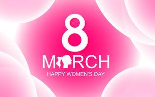 Cartão do dia das mulheres felizes no fundo abstrato cor-de-rosa com texto do 8 de março. Conceito de beleza e dama. Tema do dia especial