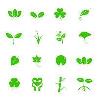 Conjunto de ícones de vetor de planta e folha. Conceito de natureza e geologia. Conceito de economia de energia. Fundo branco isolado