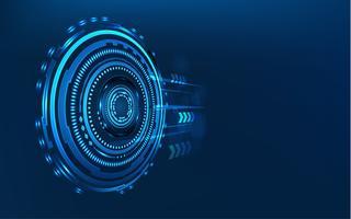 Círculo azul da tecnologia e fundo abstrato do computador com matriz do código azul e binário. Negócios e Conexão. Conceito futurista e indústria 4.0. Internet cyber e tema de rede. Interface HUD