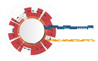 O círculo branco da tecnologia e a informática abstraem o fundo com a linha do circuito. Negócios e Conexão. Conceito futurista e indústria 4.0. Internet cyber e tema de rede.