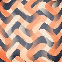 Papel de parede de onda de fita de cetim pêssego, azul e laranja