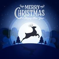A noite nevado do Feliz Natal e o ano novo do festival do ano novo terminam party cervos e o fundo azul do papel de parede do sumário do cartão da decoração da caligrafia do texto. Vector design gráfico de dia de Natal