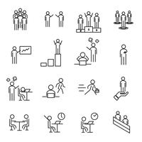 Os povos no ícone fino da linha de local de trabalho ajustaram o vetor. Conceito de escritório e gestão. Tema de sinal e símbolo. Fundo branco isolado. Vetor de ilustração.