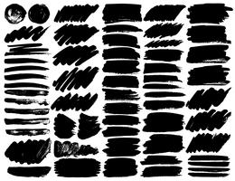 Grande conjunto de traçados de pincel, pinceladas de tinta preta grunge. Ilustração vetorial vetor