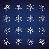 Conjunto de ícones de flocos de neve de inverno. Ícones do design plano. Vetores de ilustração para o dia de Natal e ano novo. Resumo de mão desenhada e linha.