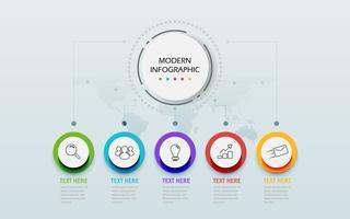 Modelo moderno de infográfico 3d abstrato. Círculo de negócios com opções para diagrama de fluxo de trabalho de apresentação. Cinco etapas de sucesso. Tema de cronograma de árvore de habilidade. Ilustração vetorial