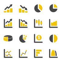 Ícones de gráfico e diagrama de design gráfico. Negócios e conceito financeiro. Conjunto de coleta de ícones plana. Ilustração vetorial