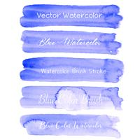 Aquarela azul do curso da escova no fundo branco. Ilustração vetorial vetor