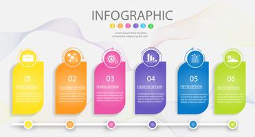 Projete o elemento infographic da carta das etapas do molde 6 do negócio com data do lugar para apresentações, vetor EPS10.
