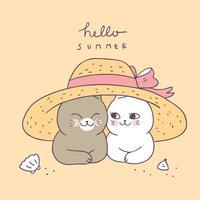 Pares bonitos do gato do verão dos desenhos animados e vetor do chapéu.
