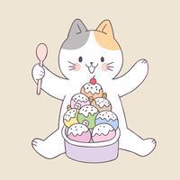 Gato bonito do verão dos desenhos animados e vetor do gelado.