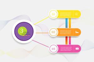 Projete o elemento infographic da carta das etapas do molde 3 do negócio com data do lugar para apresentações, vetor EPS10.