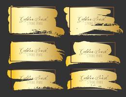 Conjunto de traçado de pincel, pinceladas de ouro grunge. Ilustração vetorial vetor