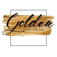 Quadro dourado do curso da escova, mancha da pintura da textura do ouro, ilustração do vetor. vetor