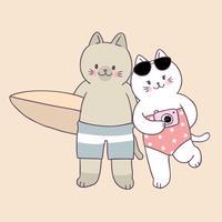Vetor bonito dos pares dos gatos do verão dos desenhos animados.