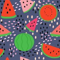 Vetor sem emenda do teste padrão da melancia bonito do verão dos desenhos animados.