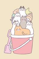 Gatos bonitos do verão dos desenhos animados e vetor do balde.