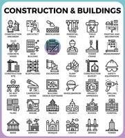 Ícones de construção e edifícios vetor