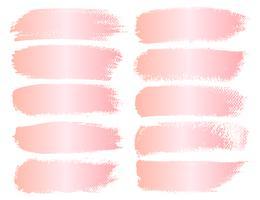 Conjunto de traçado de pincel, pinceladas de grunge de ouro-de-rosa. Ilustração vetorial vetor