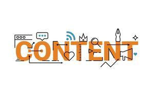 Design de letras de palavra de conteúdo vetor