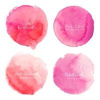 Círculo cor-de-rosa da aguarela ajustado no fundo branco. Ilustração vetorial vetor