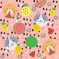 Gato bonito do verão dos desenhos animados e vetor sem emenda do teste padrão dos frutos.