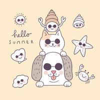 Animais engraçados do verão bonito dos desenhos animados e vetor do shell.