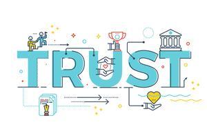 Letras de palavra de confiança vetor