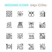 Ícones perfeitos de pixel de casamento vetor