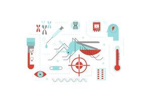 Vírus ou doença transmitida pelo conceito de ilustração de mosquito vetor