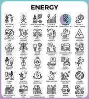Ícones de linha de energia vetor