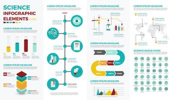 Elementos de infográfico de educação de ciência