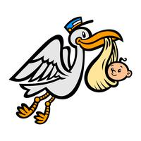 Pássaro de cegonha voando dos desenhos animados, entregando um bebê vetor