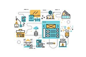 Ilustração de ícones de linha de design web