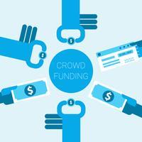 Ilustração do conceito de crowdfunding