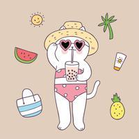 Gato bonito do verão dos desenhos animados no vetor da praia.