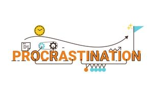 Design de palavras de procrastinação vetor