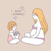 Mamã bonito do verão dos desenhos animados e vetor da filha e do cão.
