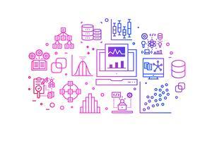 Ilustração de ícones de linha de gradiente de análise de dados vetor